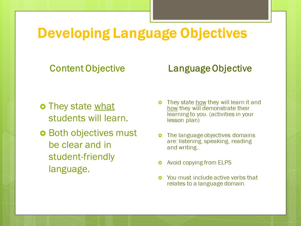 Content And Language Objectives Example | David Simchi-Levi