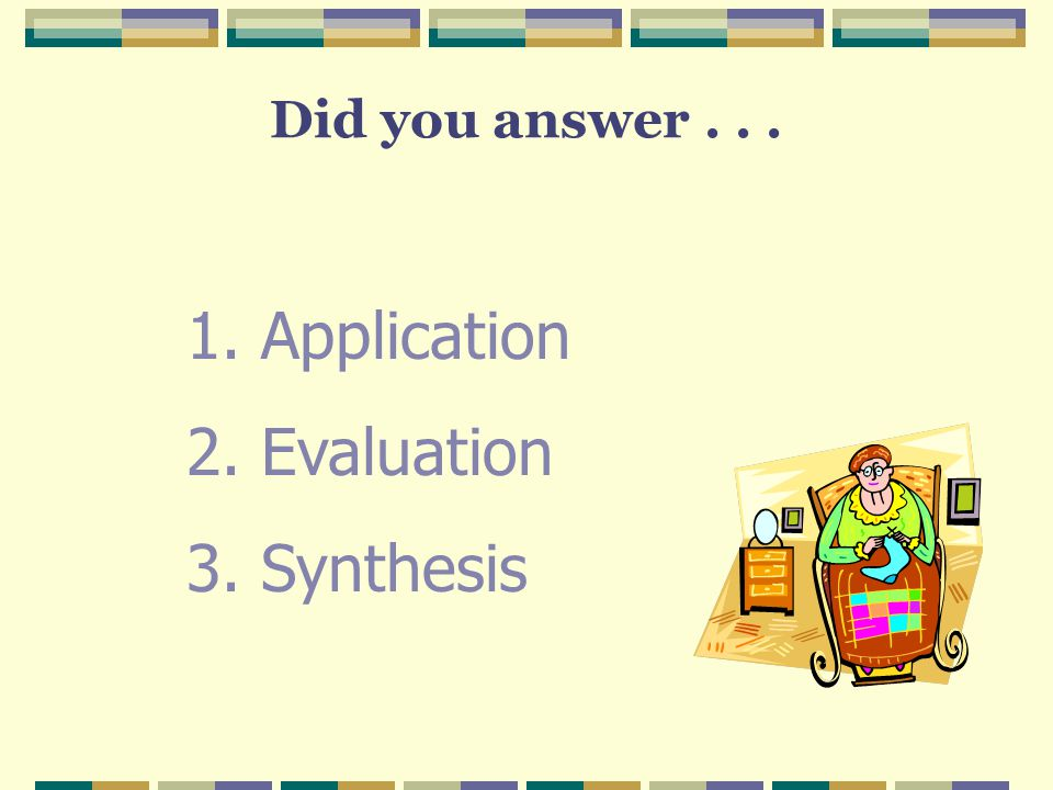 Did you answer . . . Application Evaluation Synthesis