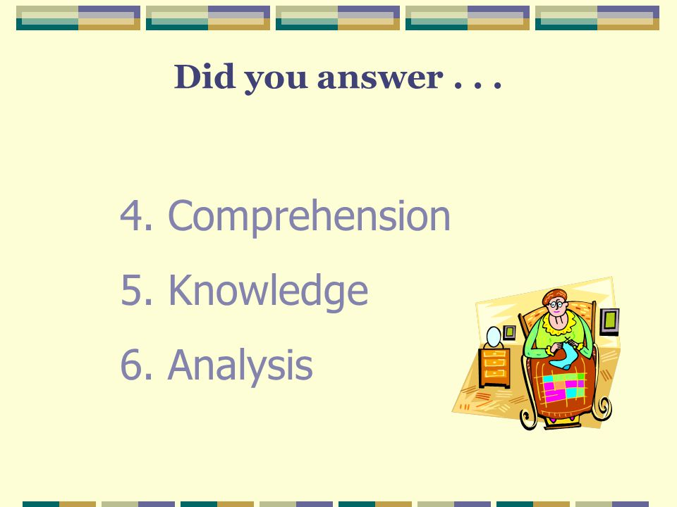 Did you answer . . . Comprehension Knowledge Analysis