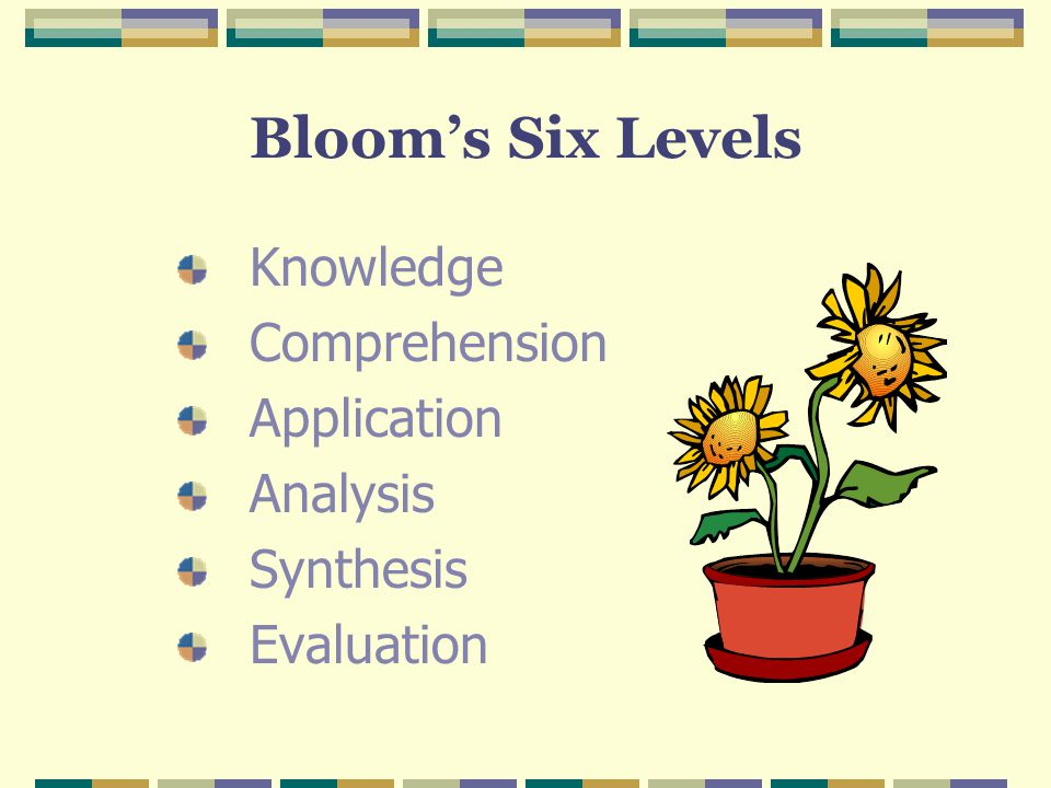 Bloom's Six Levels Knowledge Comprehension Application Analysis