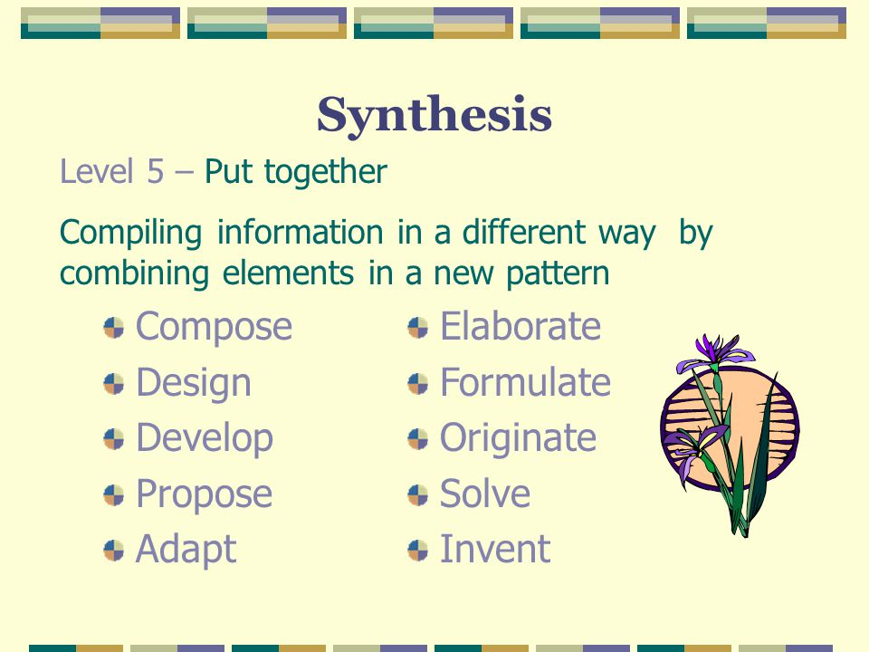Synthesis Compose Design Develop Propose Adapt Elaborate Formulate