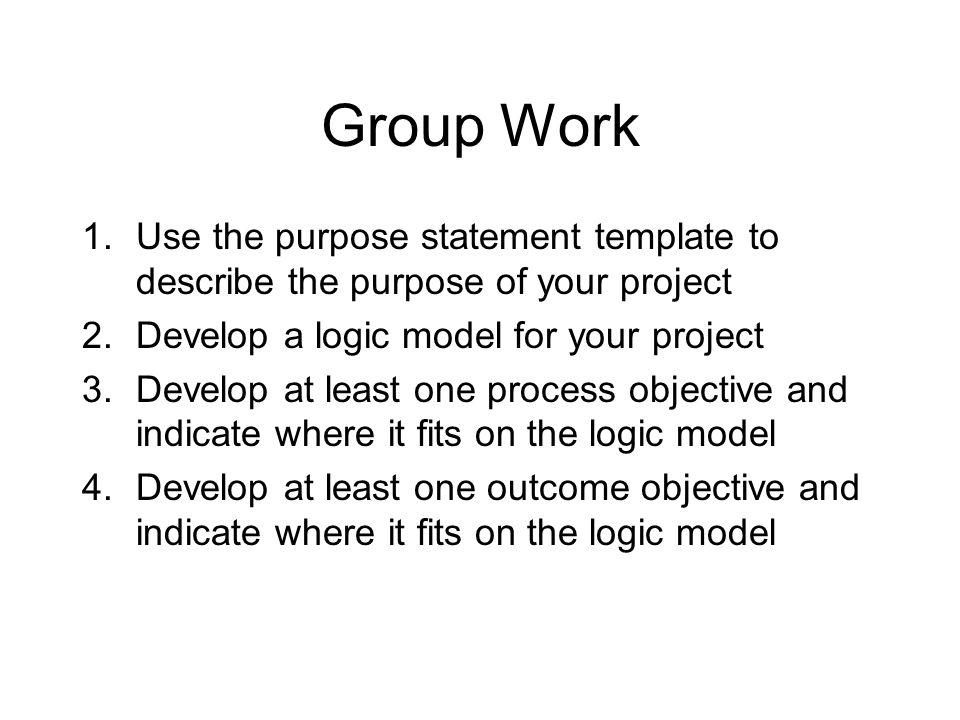 Program Planning: Purpose Statements, Goals, Objectives And Logic