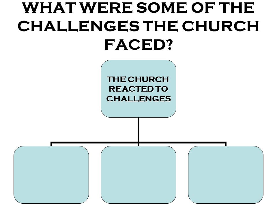 WHAT WERE SOME OF THE CHALLENGES THE CHURCH FACED