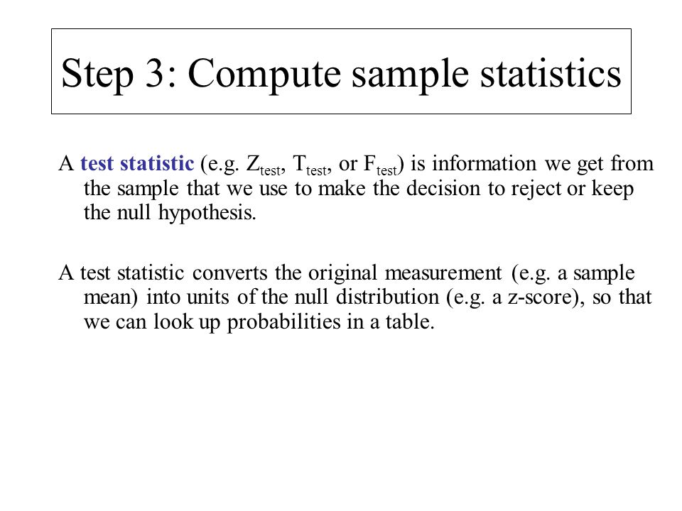 Step 3: Compute sample statistics