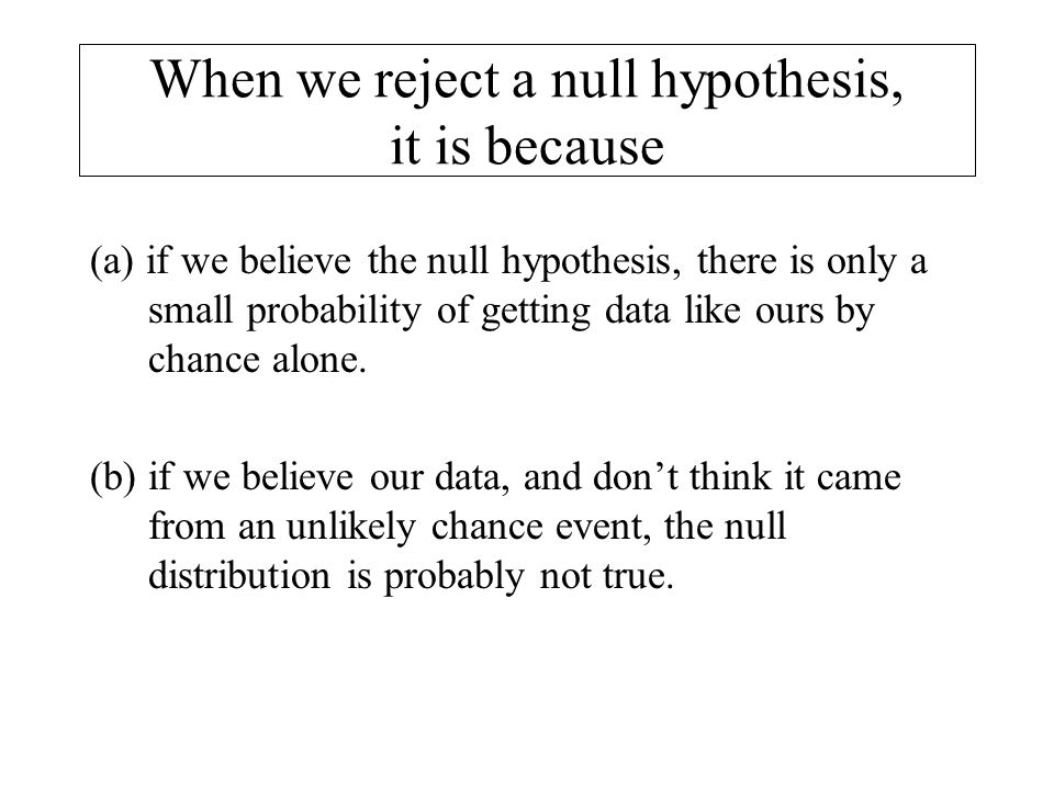 When we reject a null hypothesis, it is because