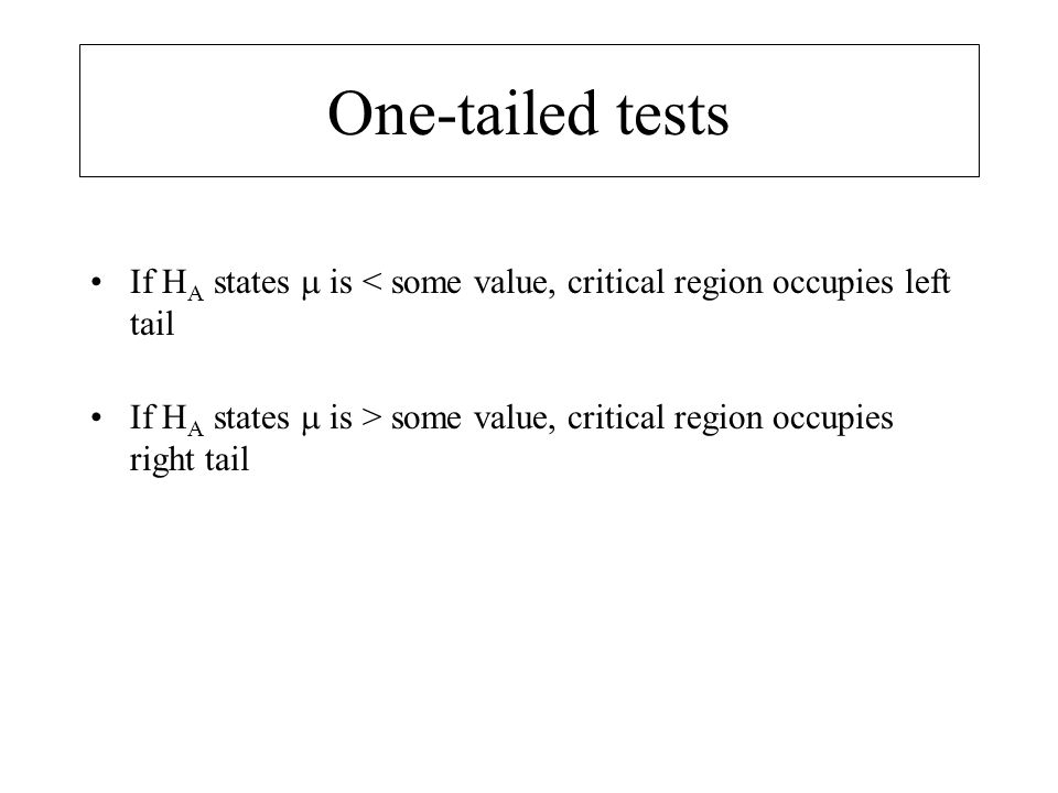 One-tailed tests If HA states  is < some value, critical region occupies left tail.