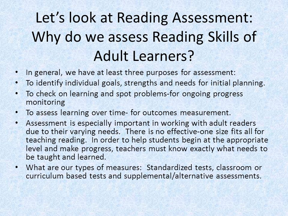how to assess reading skills pdf