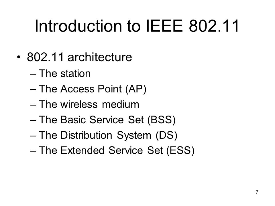 Wireless local area networks wlan ppt video online for Ieee 802 11 architecture