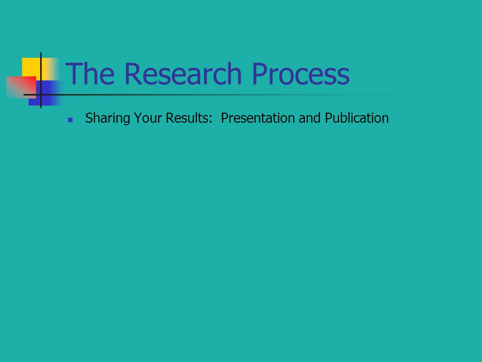 The Research Process Sharing Your Results: Presentation and Publication
