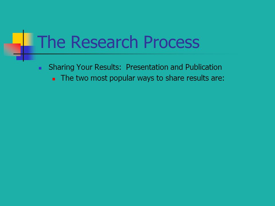 The Research Process Sharing Your Results: Presentation and Publication.