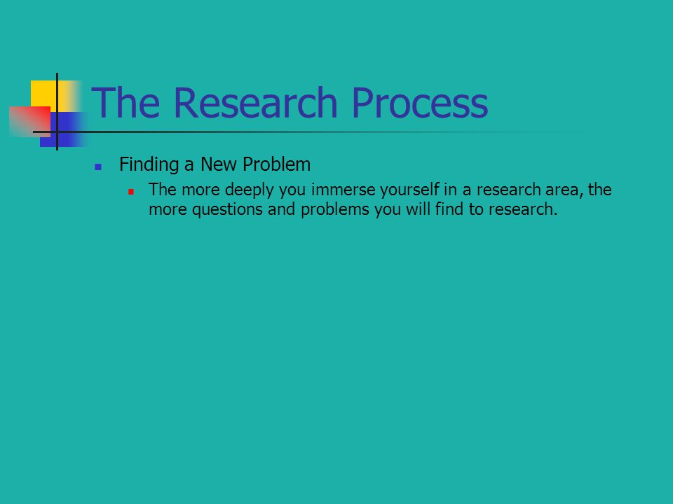 The Research Process Finding a New Problem