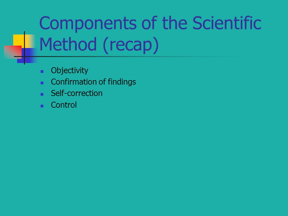 Components of the Scientific Method (recap)