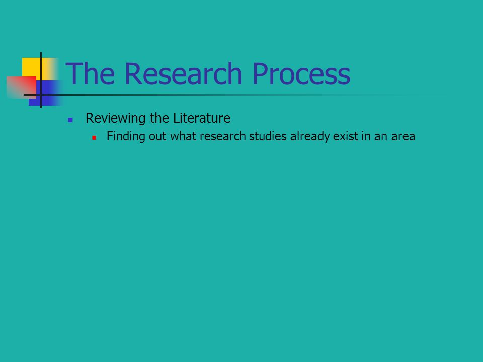 The Research Process Reviewing the Literature