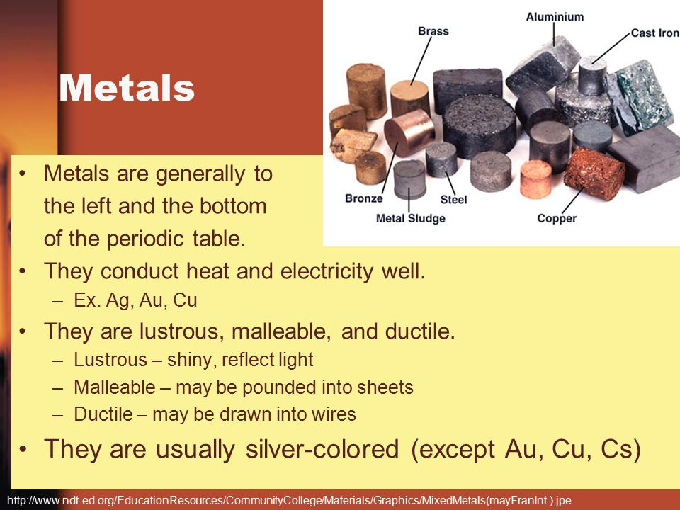 Periodic table intro gt chemistry 1111 ppt video online download metals they are usually silver colored except au cu cs urtaz Gallery