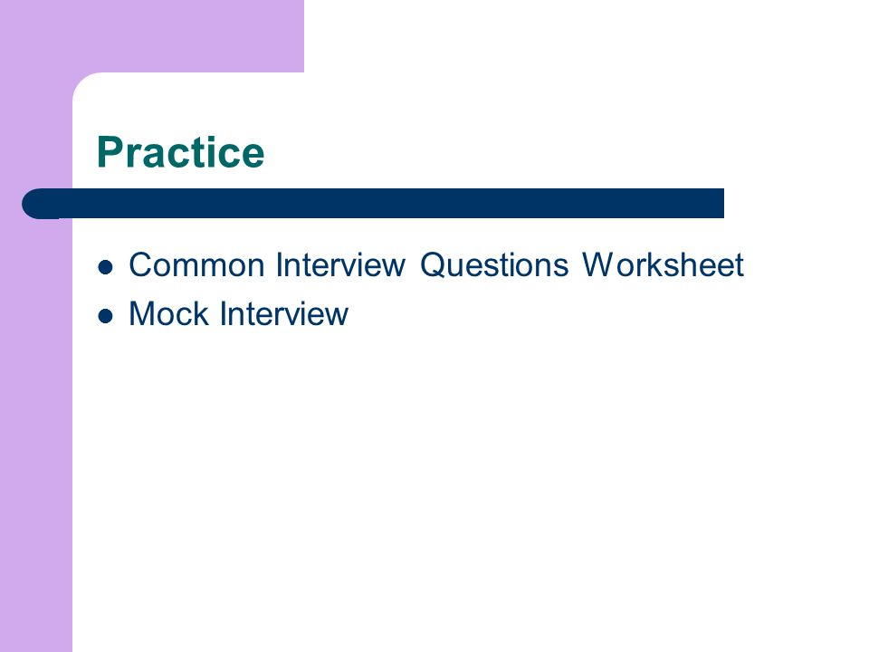 Practice Common Interview Questions Worksheet Mock Interview