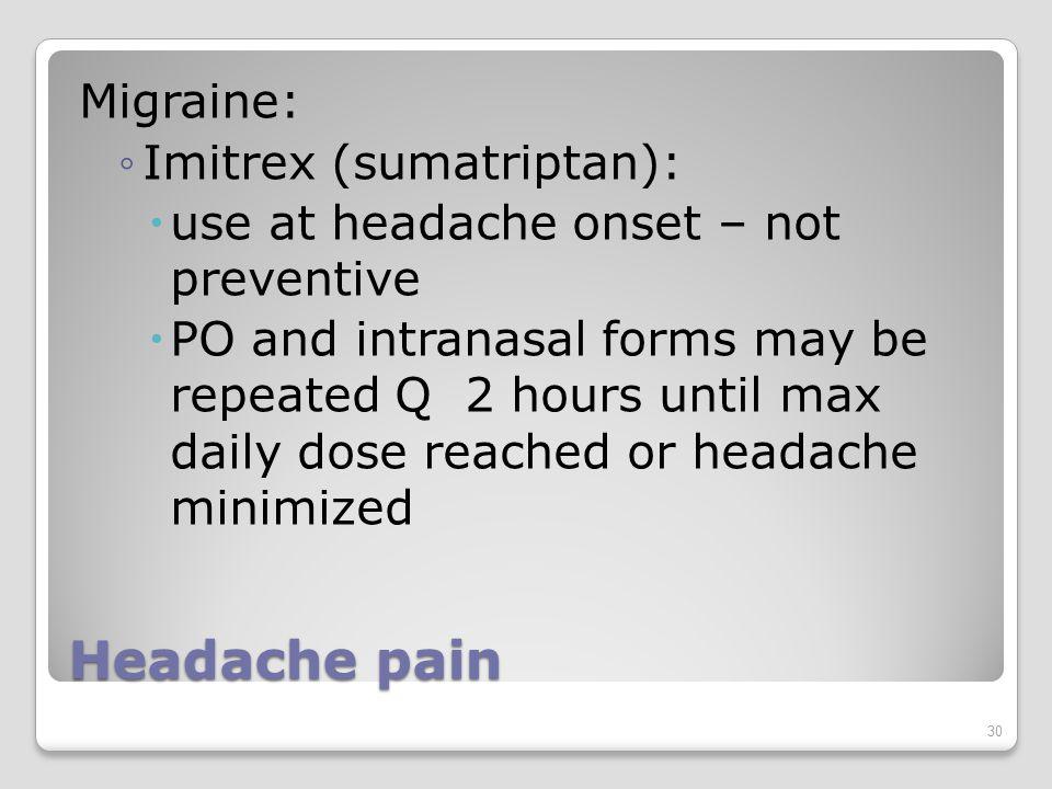 Sumatriptan Migraine Headaches