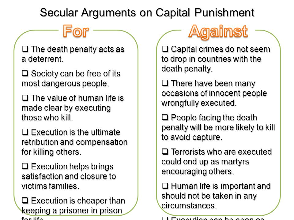 arguments for and against the death penalty The death penalty, both in the us and around the world, is discriminatory and is used disproportionately against the poor, minorities and members of racial, ethnic and religious communities.