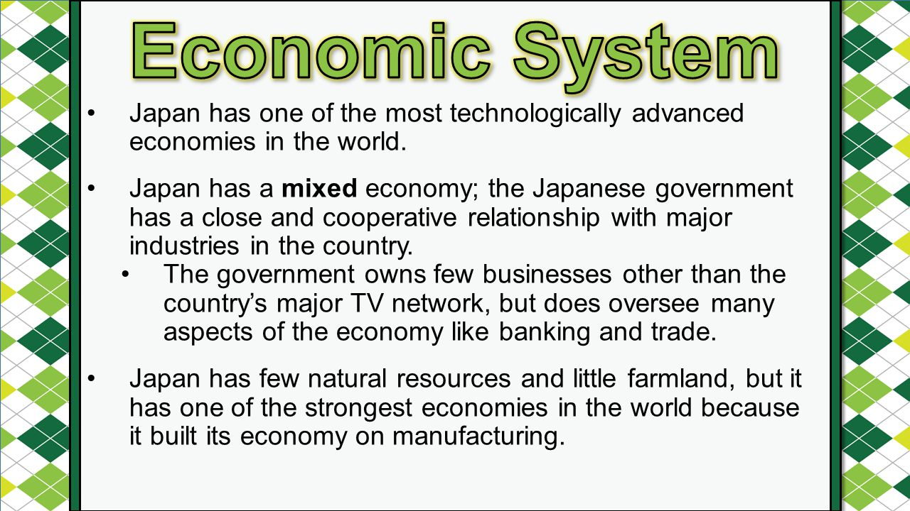 an analysis of the japans mixed market economy A mixed economy is a system that combines characteristics of market, command and traditional economies it benefits from the advantages of all three while suffering from few of the disadvantages a mixed economy has three of the following characteristics of a market economy first, it protects .