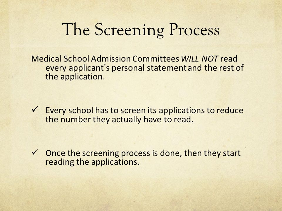 personal statement medical school application