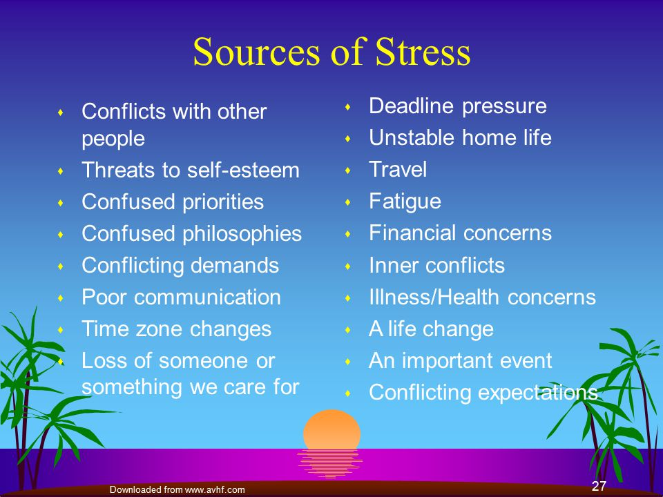 life events and conflicts as sources of stress Chapter 13 - stress, health and coping  in rachel's life will offset any stress caused by negative life events  these conflicts produce the same level of stress.