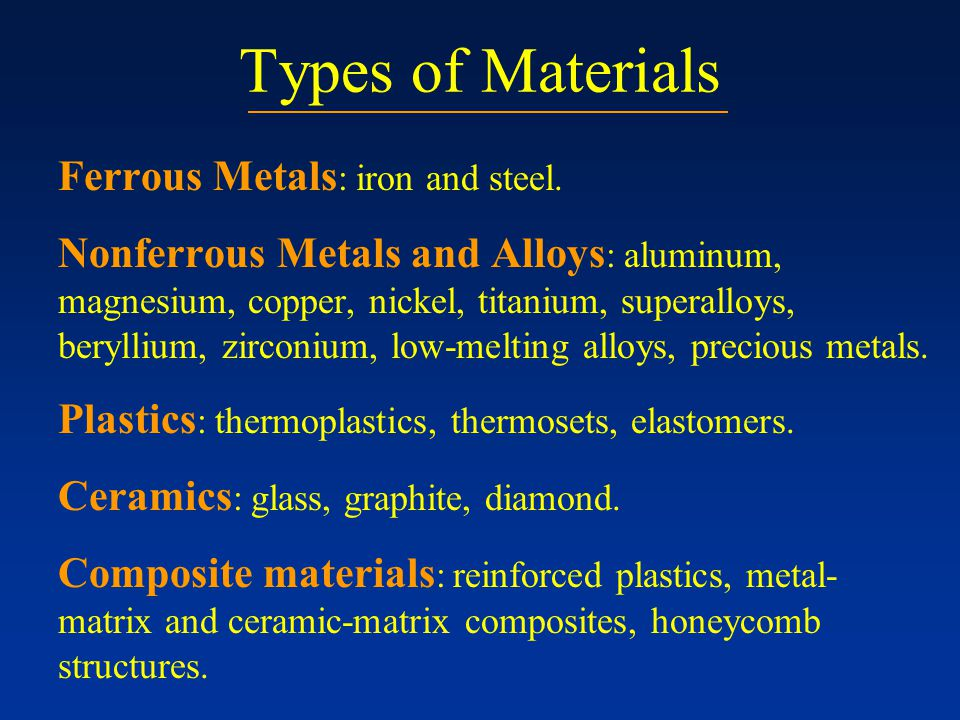 Types of Materials Ferrous Metals: iron and steel.