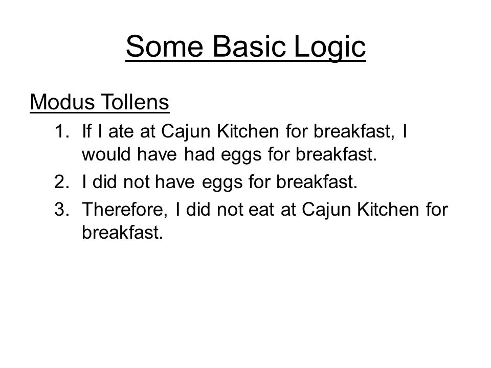 Some Basic Logic Modus Tollens