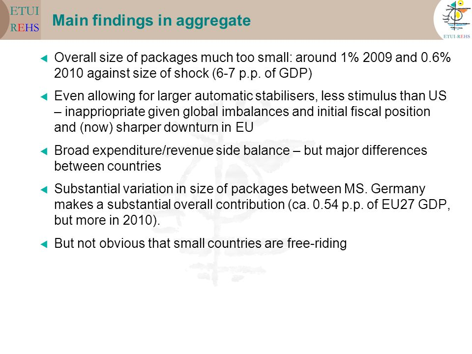 Main findings in aggregate