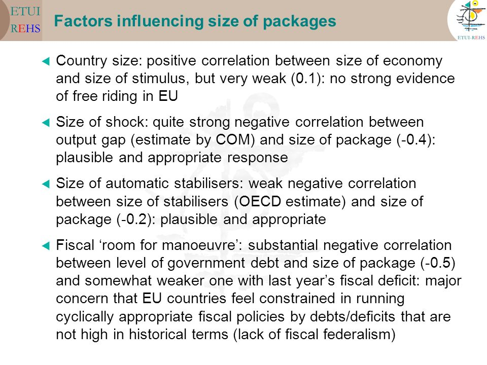 Factors influencing size of packages