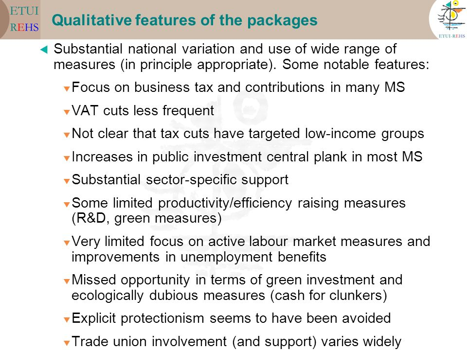Qualitative features of the packages