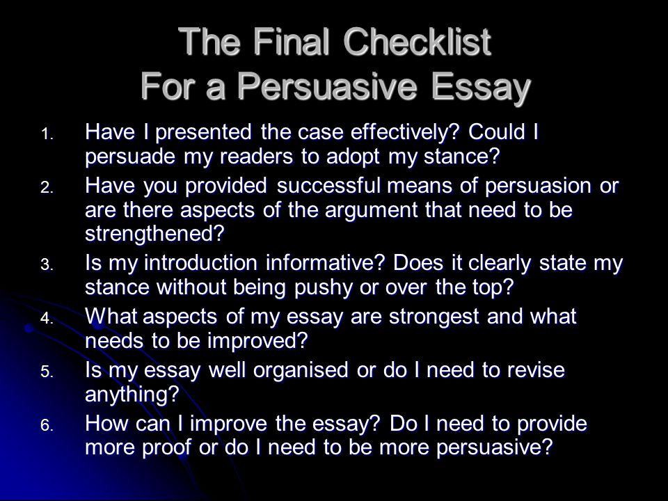 argument essay checklist scope In the first stages of writing, thesis or purpose statements are usually rough or ill-formed and are useful primarily as planning tools a thesis statement or purpose statement will emerge as you think and write about a topic the statement can be restricted or clarified and eventually worked into.
