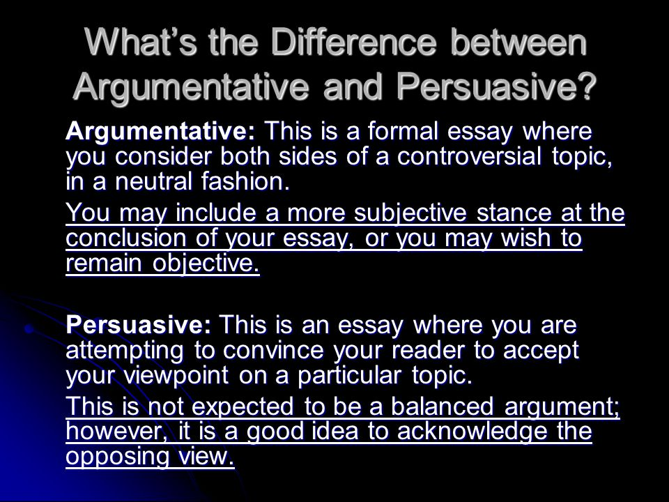 persuasive and argumentative writing