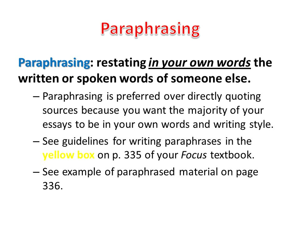 ch reading and writing argument essays ppt  23 paraphrasing