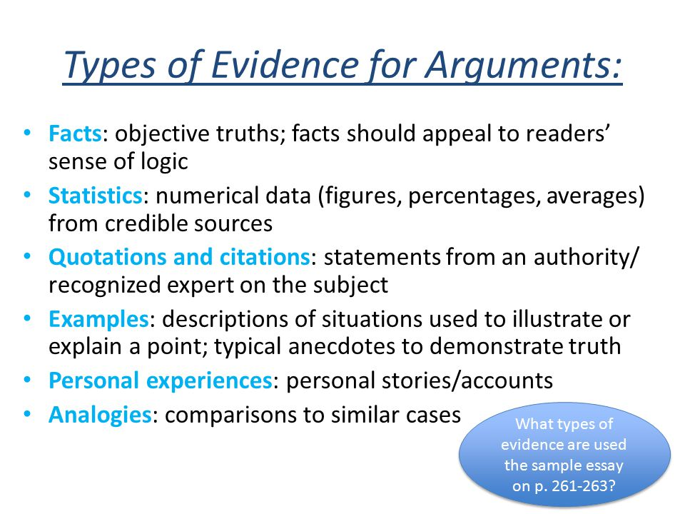 types of evidence in a persuasive essay