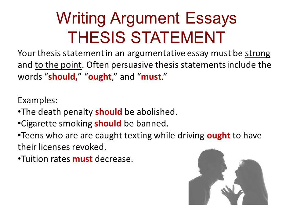 arguement thesis Buy argumentative essay if you are looking to buy argumentative essays online, ultius has topic specialists in your field of study our sample essays are custom written based on your instructions and include the most relevant research available.