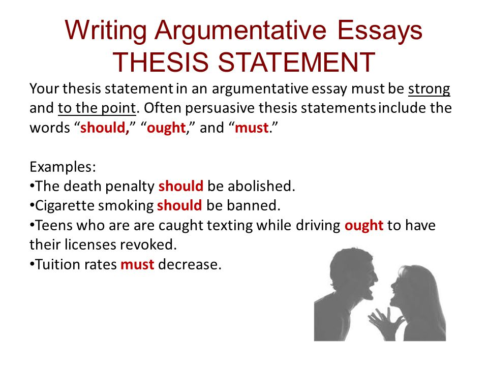 example of thesis statement for argumentative essay Thesis statements in literary analysis papers the thesis statement is one of the  an argumentative paper makes a.
