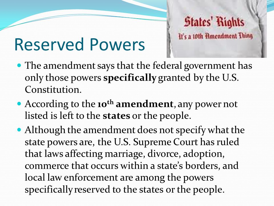 Rights Reserved To States Or People Federalism, State and ...