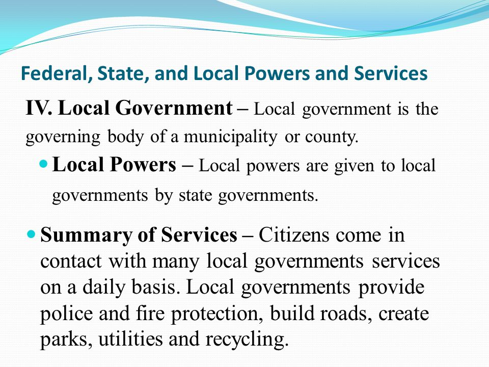 federalism  state and local government
