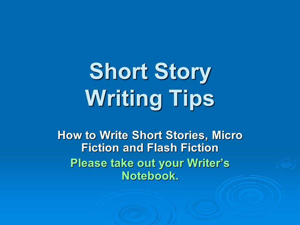 tips writing short story