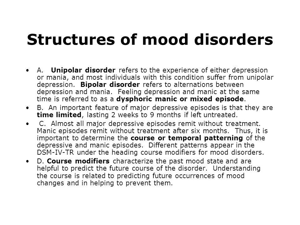 Structures of mood disorders