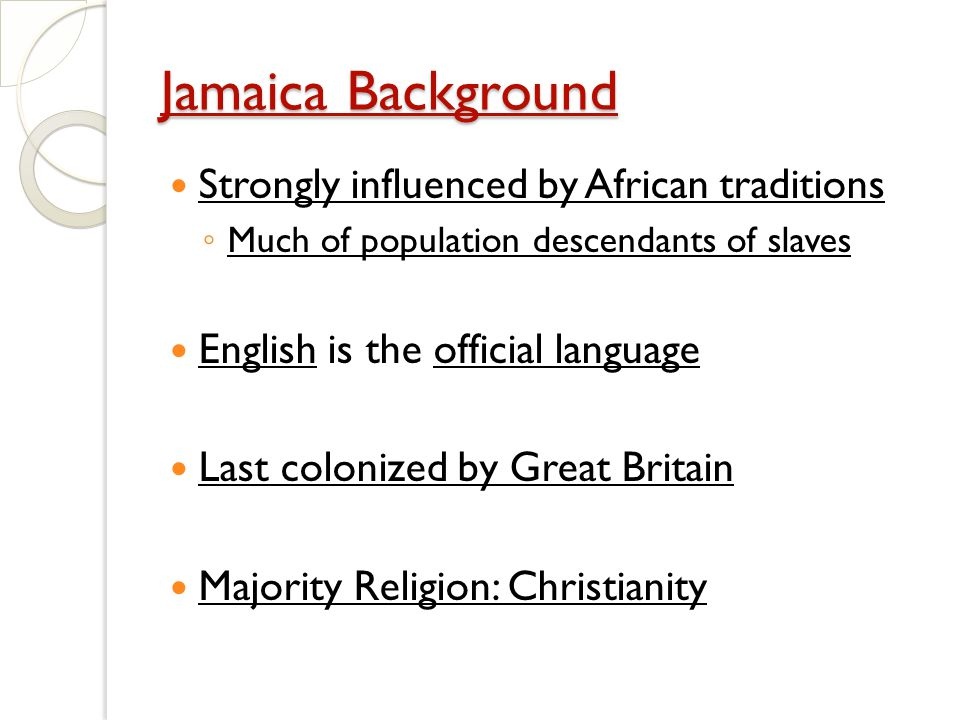 Culture In MiddleSouth America Ppt Video Online Download - What is the official language of jamaica