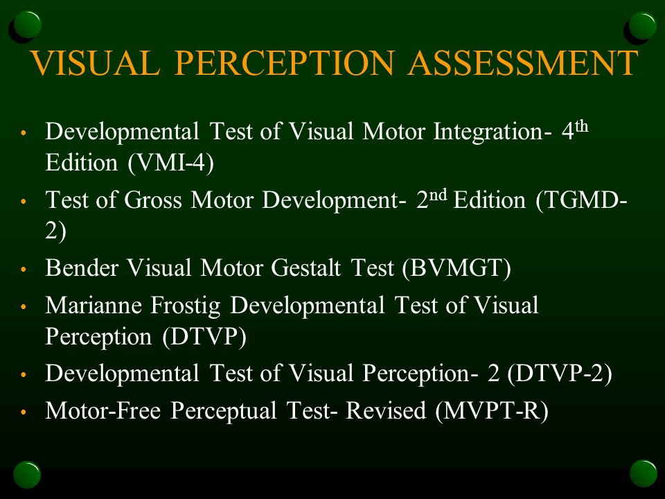 Assessment of perceptual abilities ppt download for Motor free visual perception test