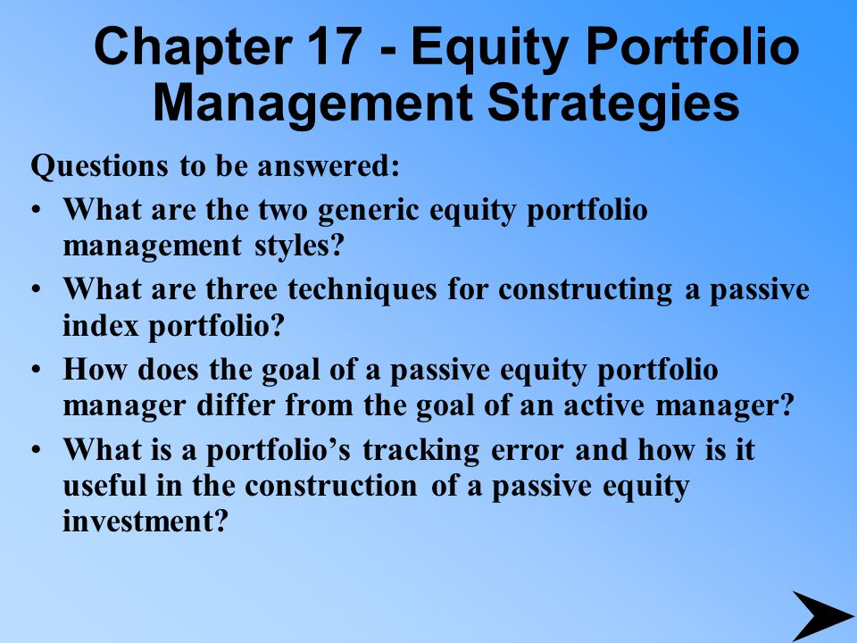 describe four techniques considered active equity portfolio management strategies Quantitative equity portfolio management is a comprehensive guide to the entire process of constructing and managing a high-yield quantitative equity portfolio this detailed handbook begins with the basic principles of quantitative active management and then clearly outlines how to build an equity portfolio using those powerful concepts.