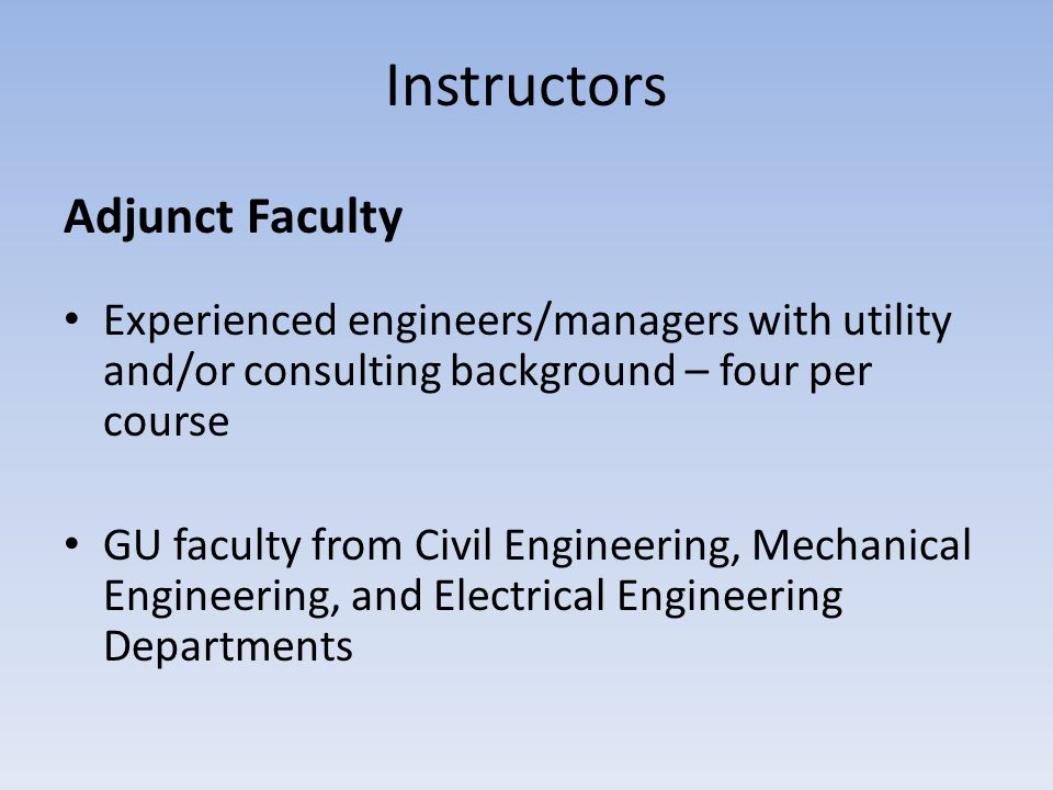 Instructors Adjunct Faculty