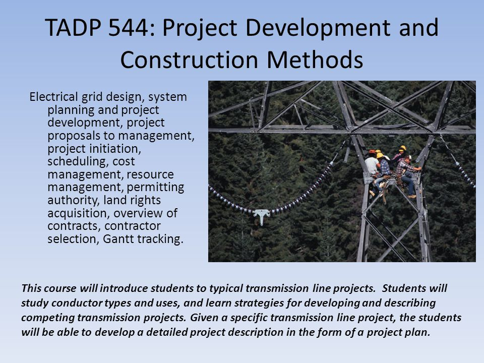 TADP 544: Project Development and Construction Methods