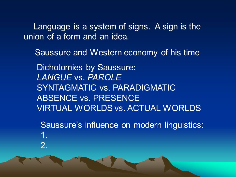 saussure s dichotomies Introduction chapters 1-5, pp 1-23 chapter 1: saussure's glance at the history of linguistics saussure first takes a bird's eye view of the field of linguistics.