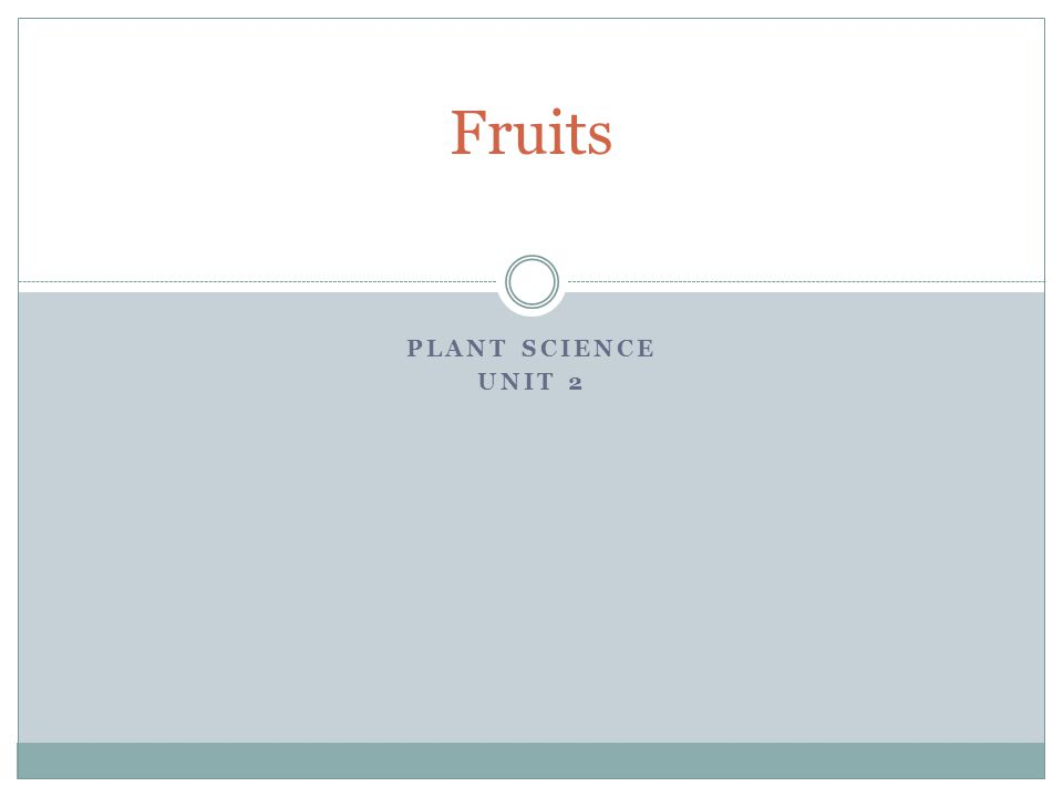 Fruits Plant Science Unit 2