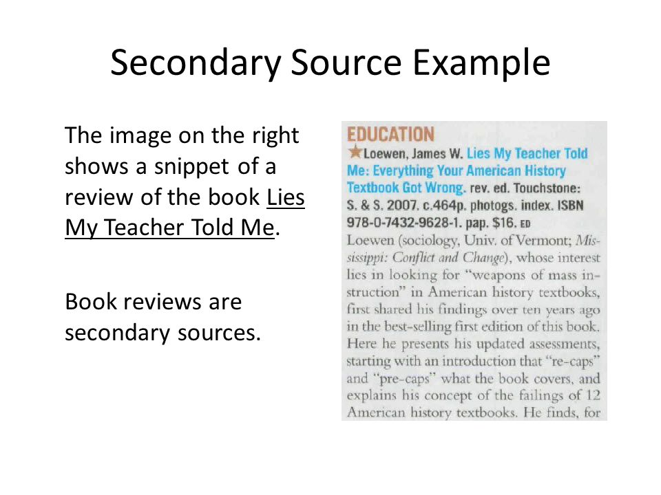 Secondary Source Example