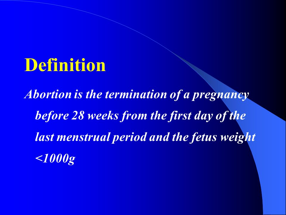 Abortion the termination of pregnancy before