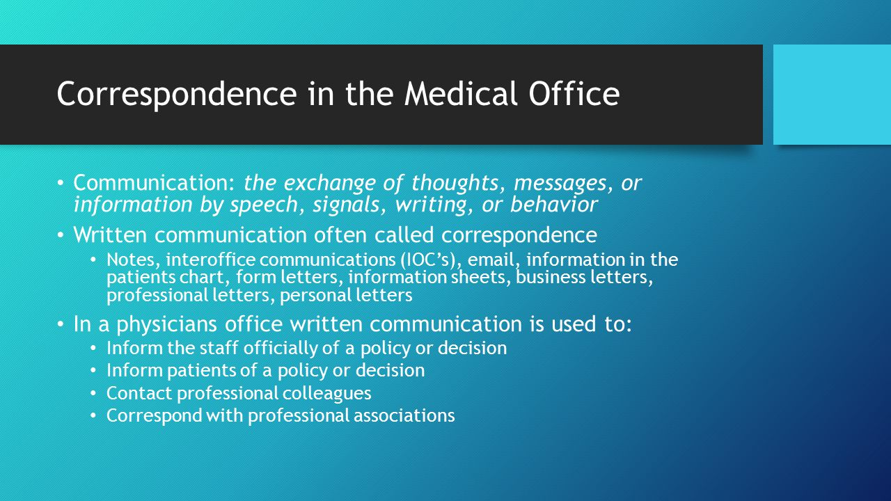 Correspondence In The Medical Office  Inter Office Communication Letter