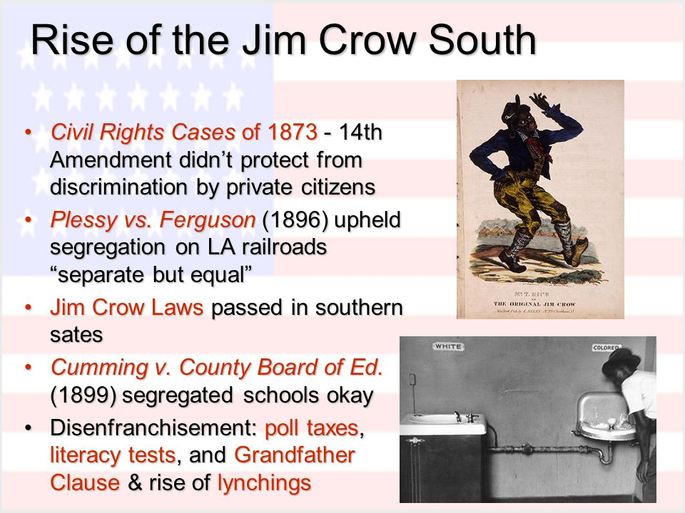 an explanation on the emergence of jim crow in the south Benching jim crow: the rise and fall of the color line in southern  a case  study that helps to explain why schools on the geographic and.